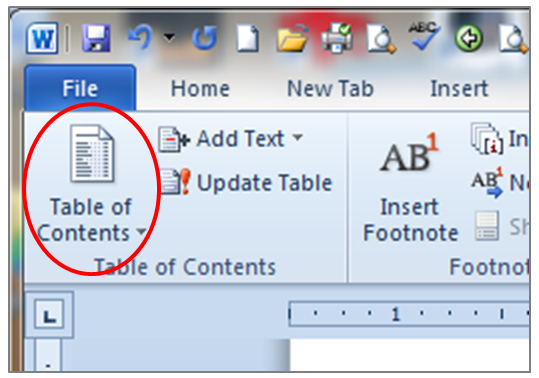 how to put in a table of contents in word